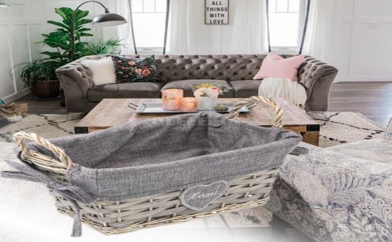 Плетена Кошница за Съхранение в Сиво Home