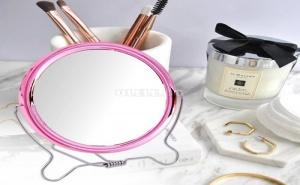 Козметично Огледало с Розова Рамка на Стойка