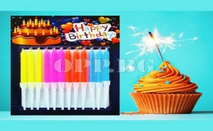 12 Броя Неонови Свещички с Поставки Happy Birthday