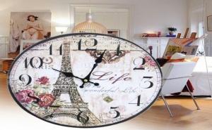 Стенен Винтидж Часовник с Айфеловата Кула Paris Life