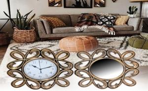 Страхотен Комплект Огледало и Часовник с Орнаментирана Рамка