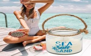 Декоративна Свещ в Бурканче с Въжена Дръжкa Sea Salt Sand