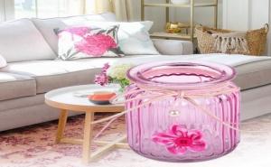 Красиво Розово Бурканче Поставка за Чаена Свещ