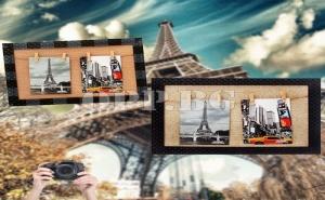 Рамка за Снимки с Връв и Щипки за Окачване