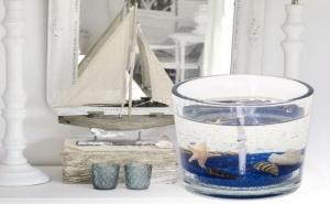 Прозрачна Декоративна Свещ в Чашка Морско Дъно
