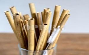 6 бр. Бамбукови Сламки за Многократна Употреба с Четка за Почистване