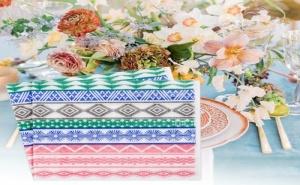 Цветни геометрични салфетки за хранене 100 броя