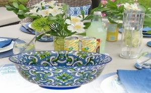 Керамична купа синьо зелена плетеница