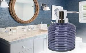 Диспенсър за Сапун в Синьо с Вълнообразен Дизайн