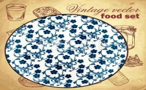 Порцеланова Чиния със Ретро Дизайн на Сини Цветя