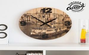 Стенен Часовник Градове Vintage Coconut