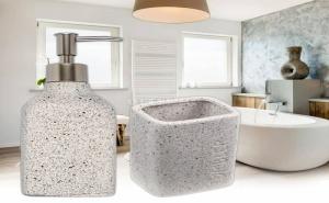 Елегантен пясъчен комплект диспенсър за течен сапун и чаша за четки за зъби