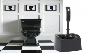 Тъмно сива четка за тоалетна с поставка