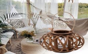 Висящ бамбуков фенер поставка за свещ