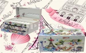 Дървена Музикална Кутия за Бижута с Огледало Париж