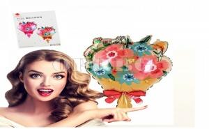 Фолиран Балон Букет с Цветя