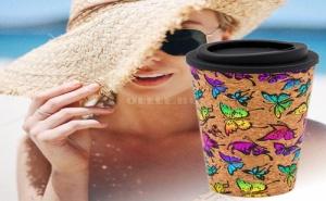 Супер Цветна Чаша за Кафе с Капак Пеперуди