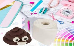 Комплект 2 Броя Гумички Емоджи Poop и Тоалетна Хартия