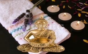 Поставка за чаена свещ Златен Буда