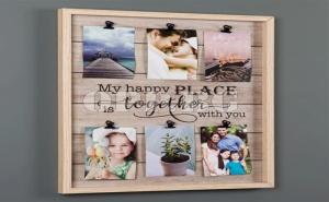 Оригинална Дървена Рамка за 6 Снимки със Щипки