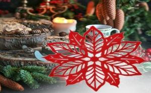 Кръгла Коледна Подложка за Хранене Цвете