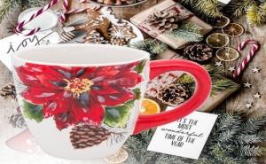 Красива Керамична Чаша Коледна Звезда