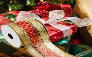 Декоративна Коледна Панделка в Червено и Златно