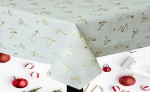 Празнична Покривка за Маса на Златни Коледни Орнаменти