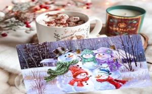 Свежа подложка за хранене Семейство снежни човеци