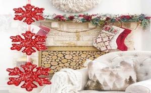 Висящ Коледен Гирлянд Брокатени Снежинки