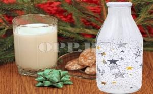 Стъклена Коледна Бутилка за Мляко (1 Литър)