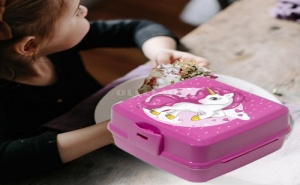 Супер Свежа Детска Кутия за Храна с 4 Отделения и Прибори