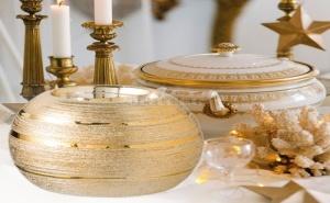 Златна Керамична Основа за Чаена Свещ