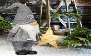 Сладурско Огромно Тъмно Сиво Коледно Джудже с Плетена Шапка