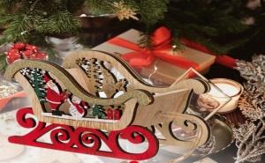 Декоративна Дървена Шейна Дядо Коледа