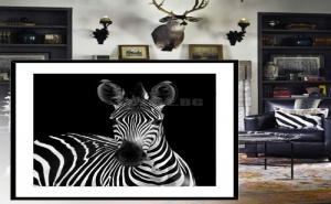 Черно Бяла Картина в Рамка Зебра