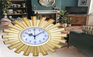 Златист Стенен Часовник Слънце