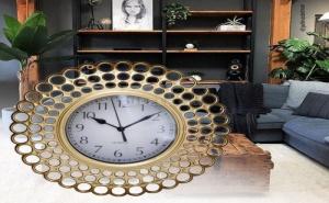 Кръгъл Златист Стенен Часовник в Ретро Стил