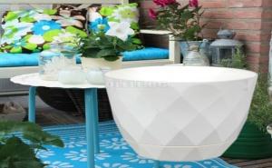Елегантна Пластмасова Саксия за Цветя с Вградена Чинийка