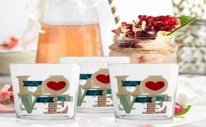 Комплект 3 Броя Стъклени Чаши Love