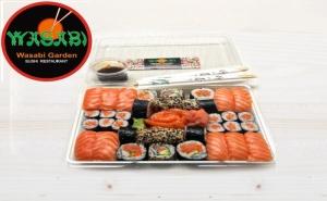 """Суши сет """"Обичам суши със сьомга"""" + Сашими – 38 бр. (1200 гр.) от ресторант Wasabi garden, София"""