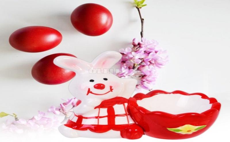 Керамична Поставка за Яйце Червено Зайче
