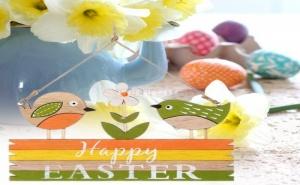 Декоративна Цветна Табелка с Пиленца Happy Easter