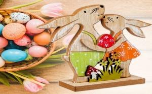 Декоративна Фигура Двойка Зайчета с Великденско Яйце