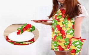 Кухненски Комплект от 3 Части Ръкохватки и Готварска Престилка