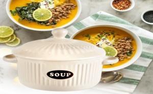 Керамична Купа за Супа с Капак Екрю