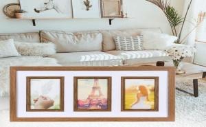 Ефектна Дървена Рамка за 3 Снимки