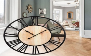 Уникален Голям Стенен Часовник с Дървен Циферблат