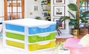 Пластмасов Органайзер с 3 Цветни Чекмедженца