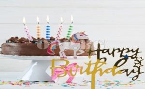 Златен Топер за Торта Еднорог Happy Birthday